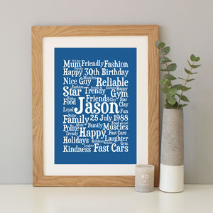 Personalised 30th Birthday Word Art Gift - sale