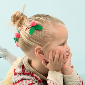 Festive Felt Holly Hair Pins - children's accessories