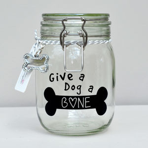 'Give A Dog A Bone' Pet Treat Storage Jar - dogs