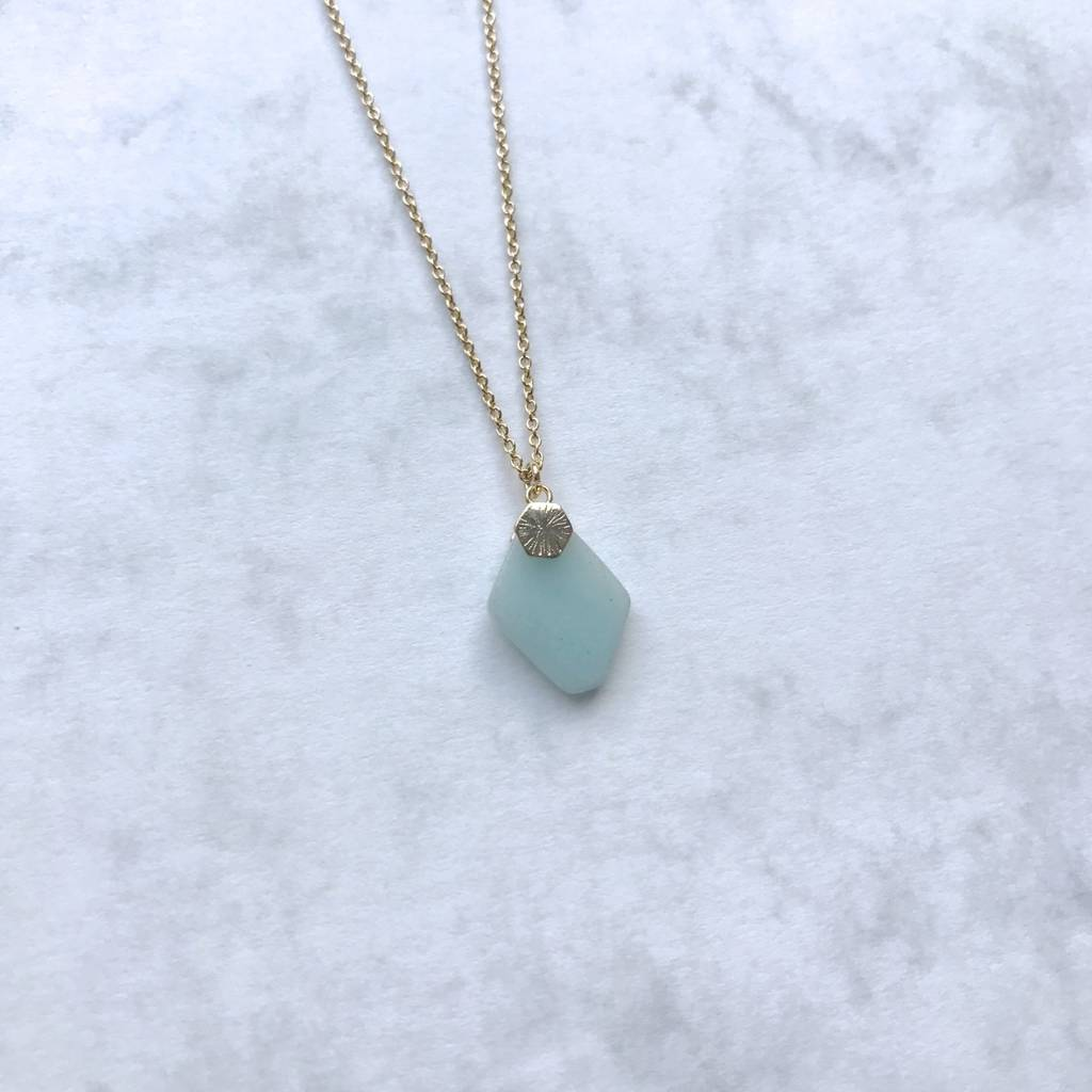 Green Amazonite Gemstone Gold Crystal Necklace