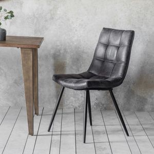 Dixie Grey Leather Chair - furniture