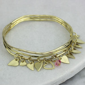 Gold Mini Heart Stacking Bangles - bracelets & bangles