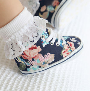 Personalised Navy Floral High Tops - clothing