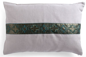 Green Panelled Linen Cushion