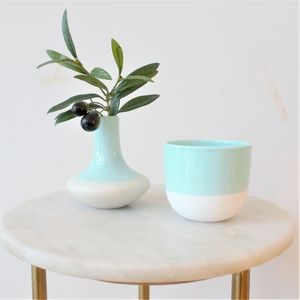 Aqua Dipped Ceramic Vase