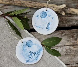 Wintery Woodland Scene Ceramic Bauble