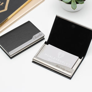 Business card holder uk personalised leather business card holder reheart Image collections