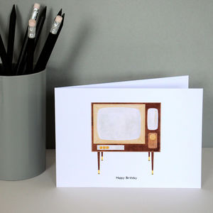 Retro Television Greetings Card