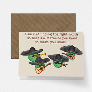 Mariachi Pea Band Empathy Card - sympathy & sorry cards