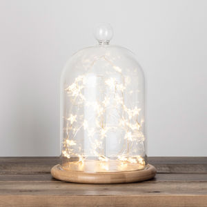 Glass Bell Jar With Star Micro Fairy Lights
