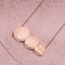 Personalised Triple Hammered Disc Necklace in rose gold plate