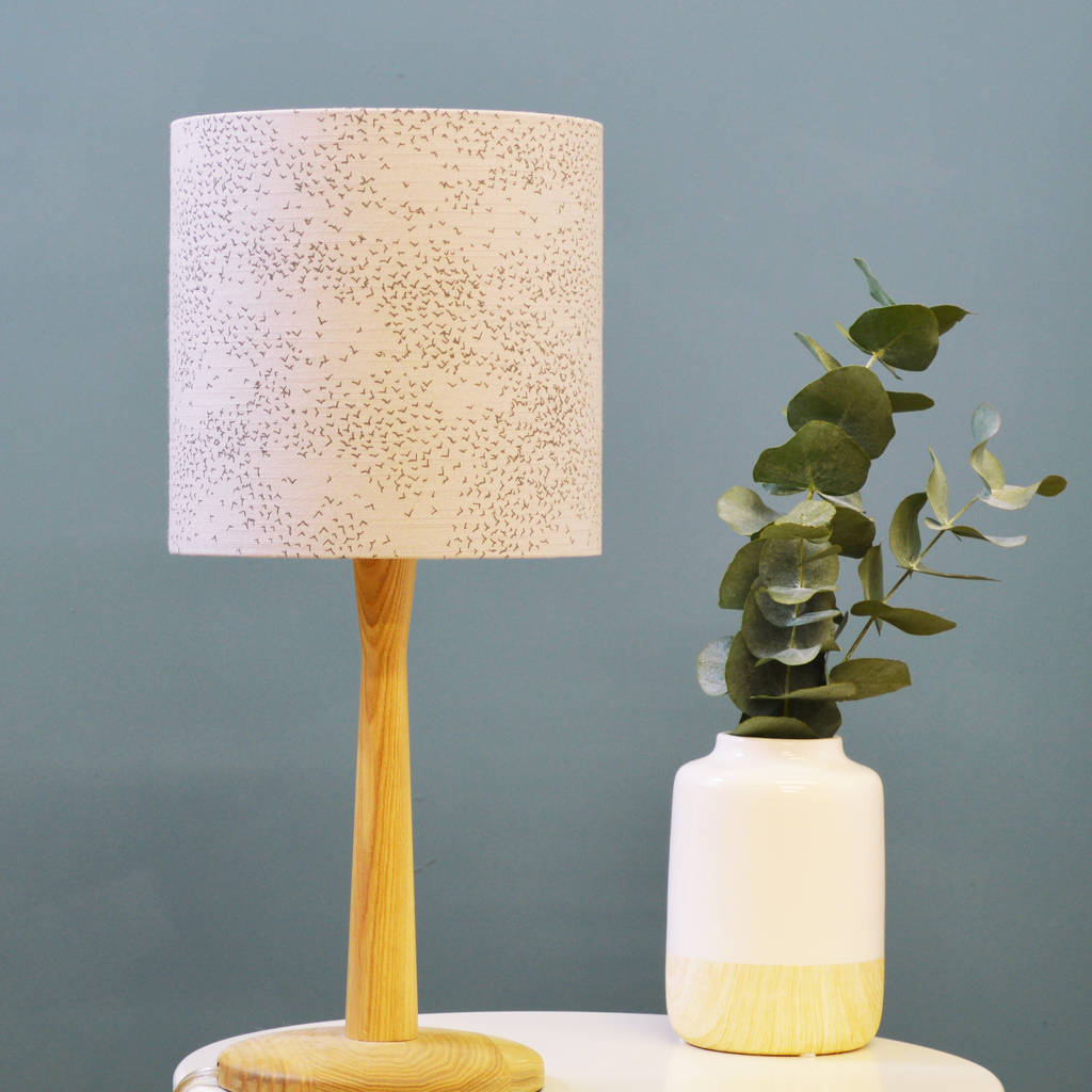 Grey Linen Starlings Bird Drum Lampshade