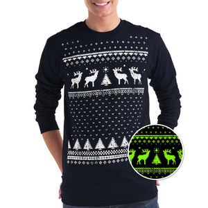Mens Glow In The Dark Christmas Reindeer Tee - christmas jumpers