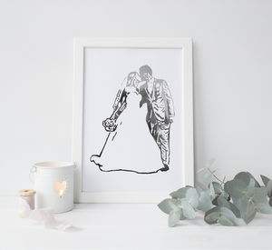 Personalised Wedding Silhouette Foil Photograph - posters & prints