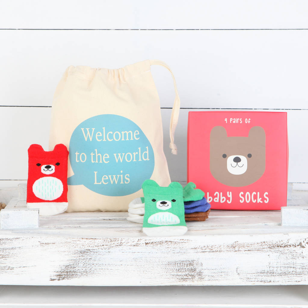 Four Pairs Of Bear Baby Socks In Personalised Bag