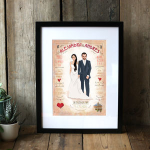 Hand Drawn Personalised Wedding Keepsake