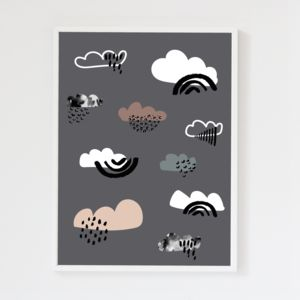 Clouds Charcoal Grey Children's Art Print