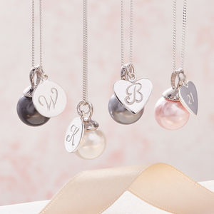 Pearl Pendant Necklace In Silver With Initial
