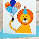 Personalise this childrens birthday card with your own text above the lion