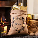 Large Personalised Hessian Wreath Christmas Sack