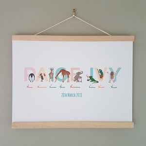 A To Z Of Emotions Personalised Name Print - gifts for babies