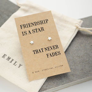 Friendship Star Silver Earrings - jewellery sale