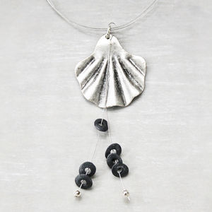 Shell Pendant Necklace With Six Pebble Beads