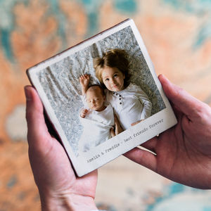 Personalised Glazed Ceramic Retro Style Photo Tile - gifts for him