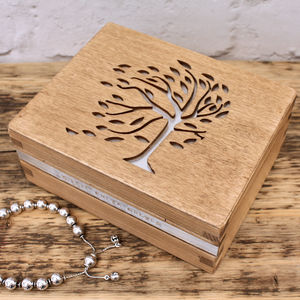 Personalised Wooden Tree Filigree Trinket Box