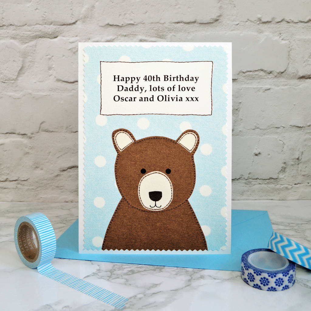 Personalised Daddy Bear Birthday Card By Jenny Arnott Cards Gifts