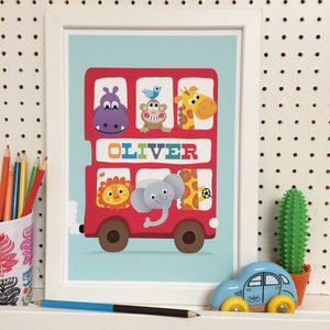 Kids Personalised Print Big Red Bus - children's room