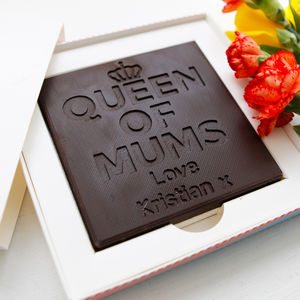 Personalised 'Queen Of Mums' Chocolate Card