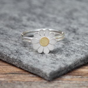 Little Daisy Ring In Solid Silver And 18ct Gold - rings