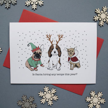 funny dogs christmas card or pack