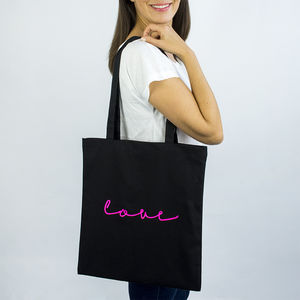 'Love' Neon Sign Tote Bag