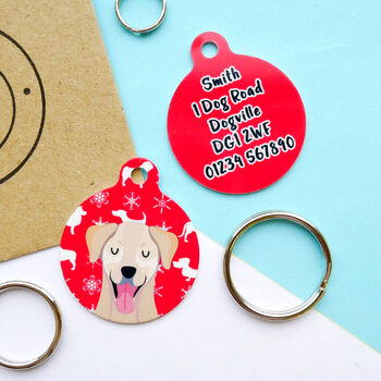 Personalised Festive Dog ID Tag