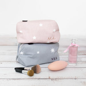 Personalised Star Print Wash Bag
