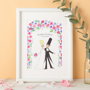 Personalised Blooms Wedding Gift Print - people & portraits