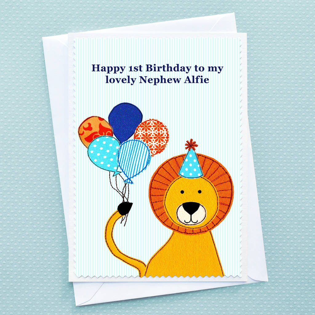 lion personalised childrens birthday card by jenny arnott cards – Boy Birthday Cards