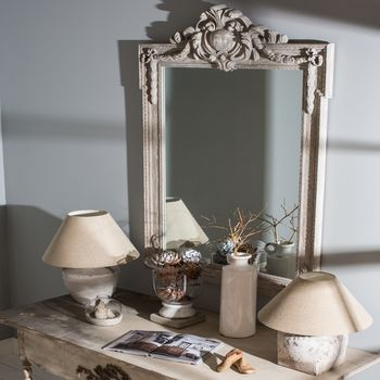 Wilton Distressed Brown Mantle Mirror With Top Detail