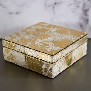 Gold And Cowhide Leather Jewellery Box - winter sale