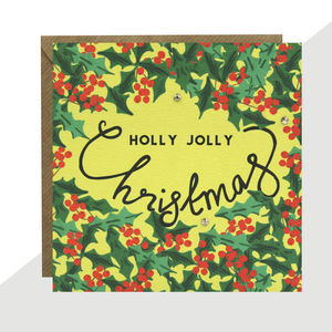 'Holly Jolly' Christmas Card Pack Of Five Or Single