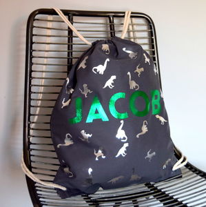 Personalised Three Dinosaur Backpack - bedroom