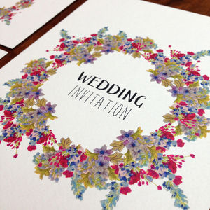 Floral Garland Wedding Invitation Set - save the date cards