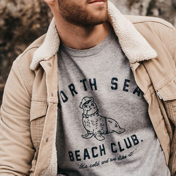 Mens Retro Grey 'North Sea Beach Club' T Shirt