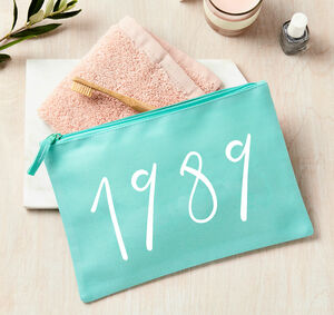 Personalised Birth Year Large Wash Or Make Up Bag