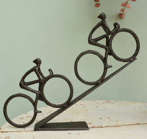 Uphill Cyclist Sculpture