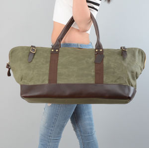 Womens Waxed Canvas Travel Duffel Bag