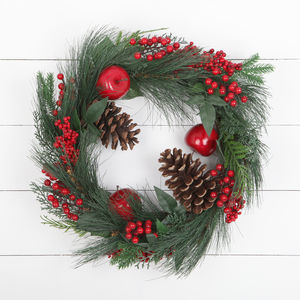 Apple And Acorn Artificial Christmas Wreath