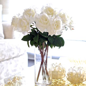 Artificial White Tea Rose Stem - artificial flowers